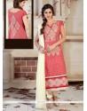 Urbane Chanderi Peach Lace Work Churidar Designer Suit