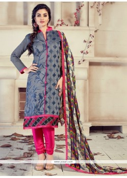 Customary Chanderi Grey Lace Work Churidar Designer Suit