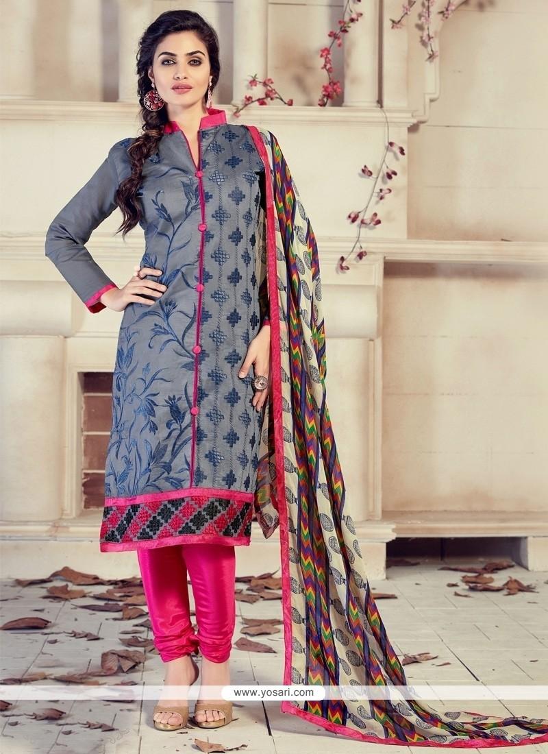 Customary Chanderi Grey Lace Work Churidar Designer Suit