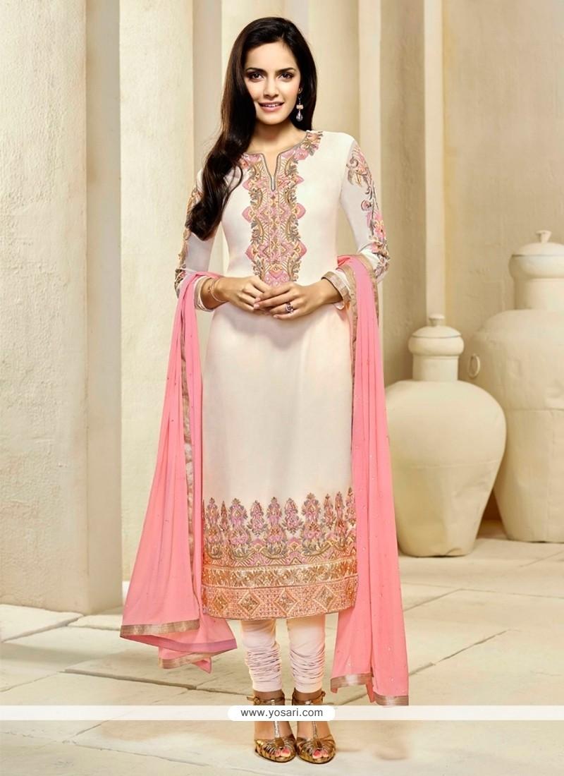 Lustre Georgette Cream Resham Work Churidar Designer Suit