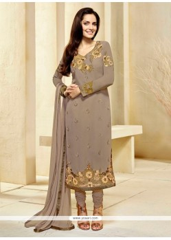 Intricate Beige Resham Work Georgette Churidar Designer Suit