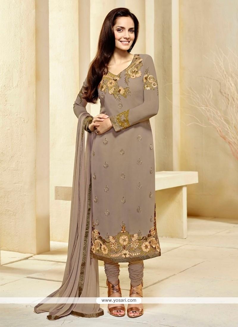 Intricate Beige Resham Work Georgette Churidar Designer Suit