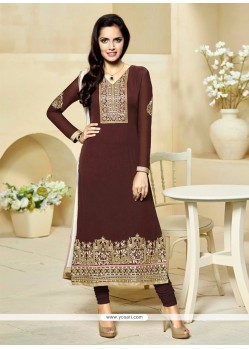 Charismatic Brown Embroidered Work Georgette Churidar Designer Suit