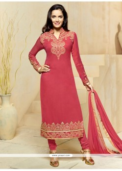 Intriguing Georgette Pink Churidar Designer Suit