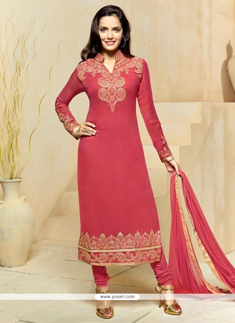 Intriguing Georgette Pink Churidar Designer Suit