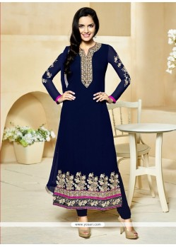 Compelling Blue Embroidered Work Georgette Churidar Designer Suit