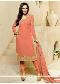 Subtle Georgette Peach Churidar Designer Suit