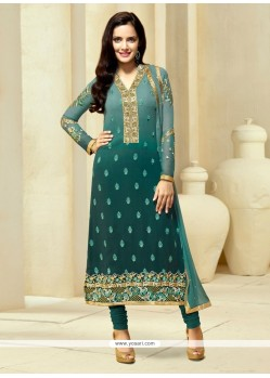 Precious Teal Embroidered Work Churidar Designer Suit