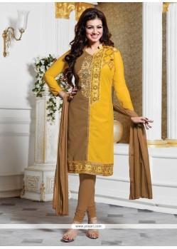 Ayesha Takia Lace Work Yellow Churidar Designer Suit