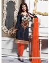 Ayesha Takia Navy Blue Embroidered Work Churidar Designer Suit