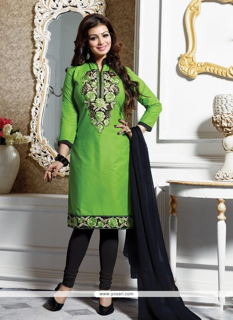 Ayesha Takia Green Churidar Designer Suit