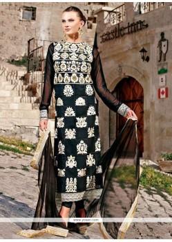 Bedazzling Black Faux Georgette Pakistani Suit