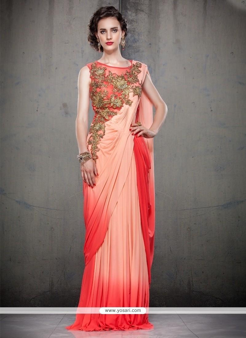 Georgette Peach Cutdana Work Floor Length Gown