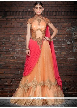 Orange And Peach Georgette Embroidered Work Floor Length Gown
