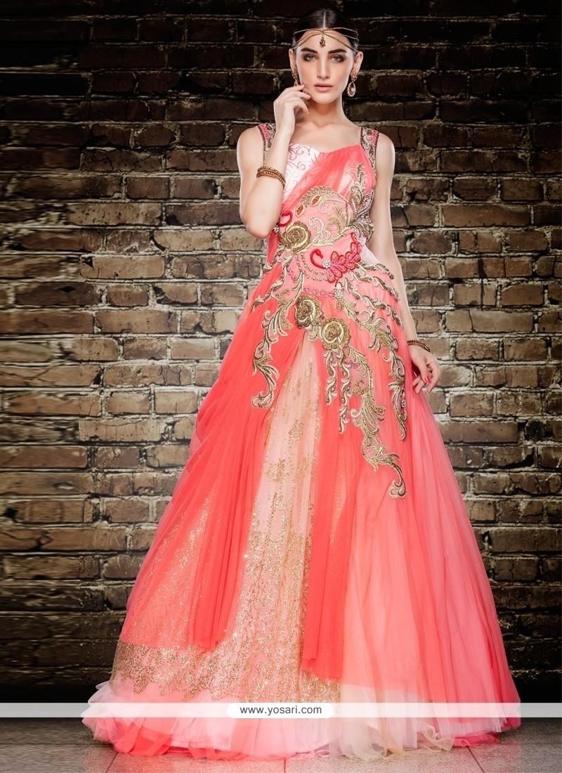 Precious Net Kasab Work Floor Length Gown