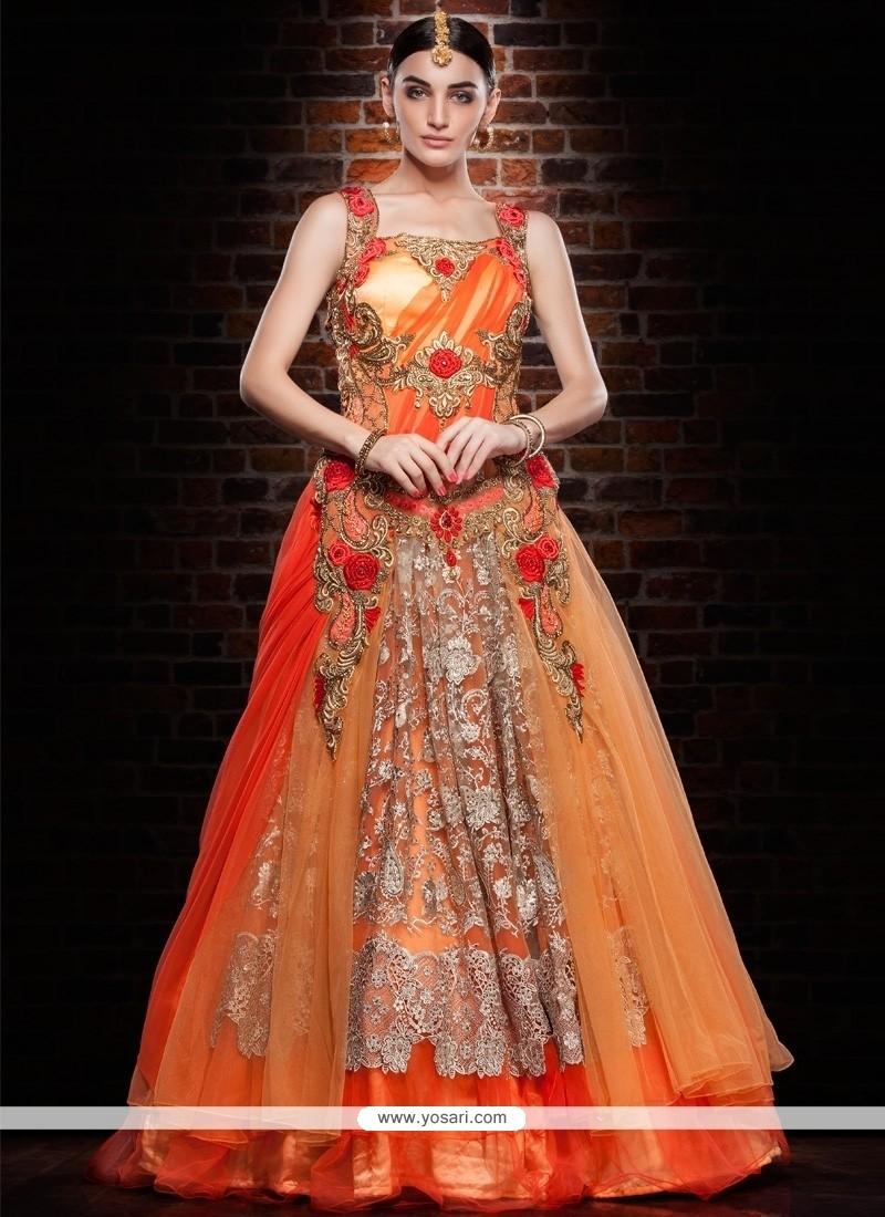 Capricious Net Orange And Peach Floor Length Gown