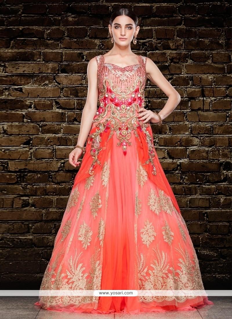 Simplistic Orange And Pink Net Resham Work Floor Length Gown
