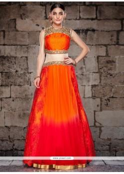 Deserving Net Orange And Red Resham Work Designer Gown