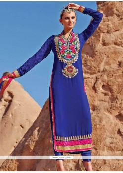 Royal Blue Shaded Faux Georgette Pakistani Suit