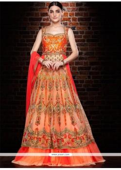 Amusing Net Orange And Peach Cutdana Work Floor Length Gown