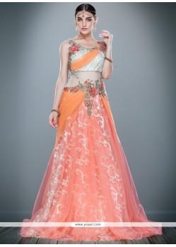 Sensible Cutdana Work Net Pink Floor Length Gown