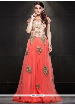 Perfervid Net Peach Cutdana Work Floor Length Gown