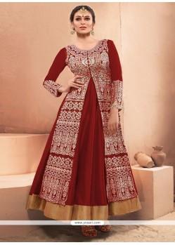Maroon Net Embroidered Work Designer Gown