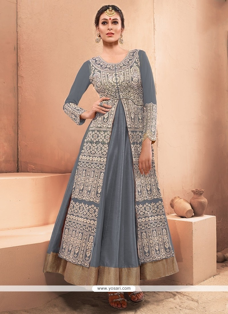 Striking Resham Work Designer Gown