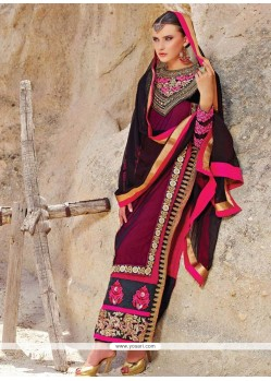Fabulose Maroon Shaded Faux Georgette Pakistani Suit