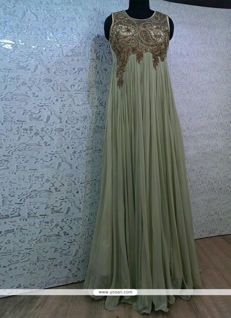 Noble Embroidered Work Viscose Grey Designer Gown