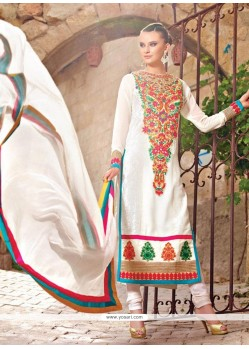 Dazzling White Shaded Faux Georgette Pakistani Suit