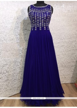 Flawless Embroidered Work Net Blue Designer Gown