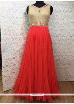 Red Net Designer Gown