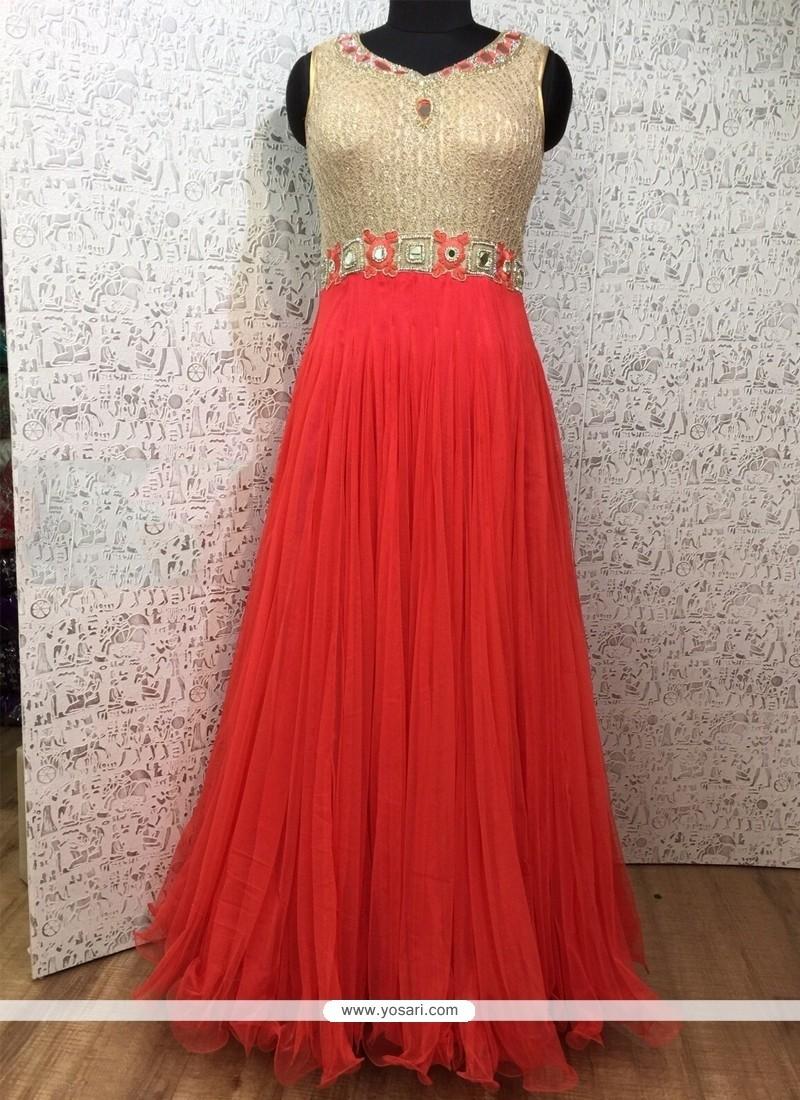Red Net Designer Gown