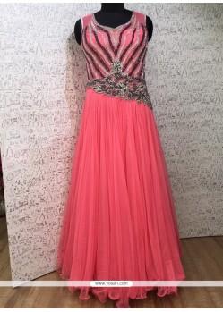Pink Net Cutdana Work Designer Gown