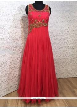 Tiptop Zari Work Net Hot Pink Designer Gown