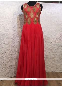 Festal Red Net Resham Work Designer Gown