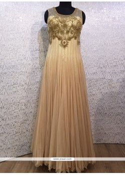 Lovely Net Cream Designer Gown