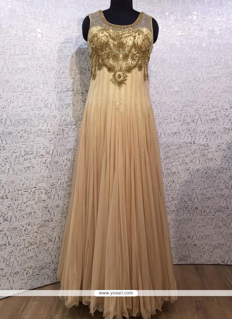 Lovely Net Cream Designer Gown