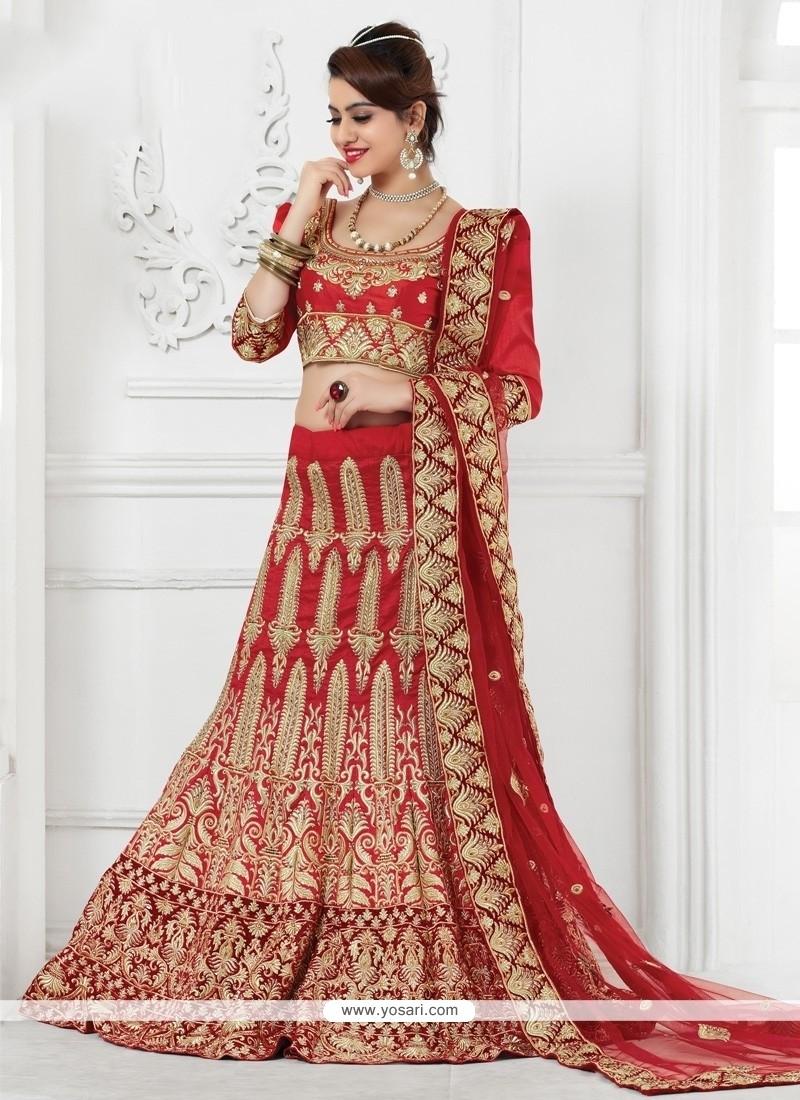 Distinctively Red Resham Work A Line Lehenga Choli