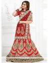 Luscious Red Raw Silk A Line Lehenga Choli