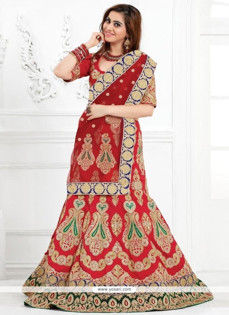 17b12588a0 Shop online Luscious Red Raw Silk A Line Lehenga Choli