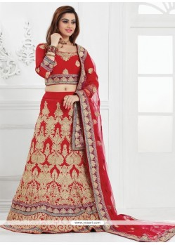 Observable Patch Border Work Raw Silk A Line Lehenga Choli
