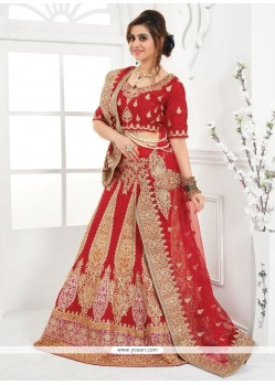Luscious Embroidered Work Red A Line Lehenga Choli