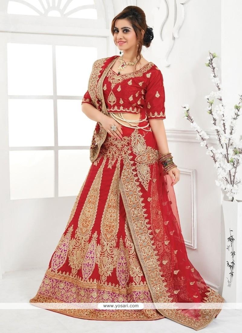 Luscious Embroidered Work Red A Line Lehenga Choli