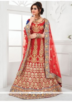 Suave Patch Border Work Red Raw Silk A Line Lehenga Choli