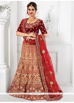 Ideal Red Patch Border Work A Line Lehenga Choli