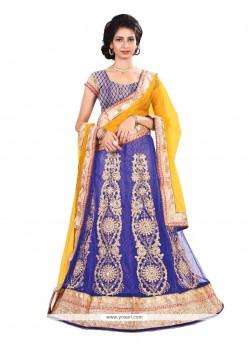 Fantastic Blue And Yellow A Line Lehenga Choli