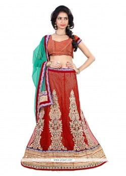 Noble Net Red Embroidered Work A Line Lehenga Choli