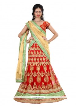 Bewitching Red Patch Border Work Net A Line Lehenga Choli